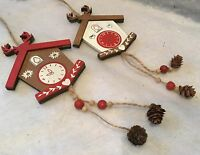 2x Wooden Cuckoo Clock Tree Decorations Christmas Vintage Red White Nordic Wood