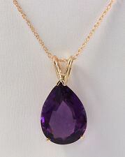 9.20 CTW Natural Amethyst in 14K Solid Yellow Gold Women Necklace & Pendant