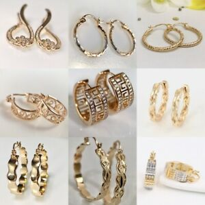 SALE 9ct 9K Gold Filled Prom Ladies 15- 40 mm Hoop Earring Birthday GIFT Pouch