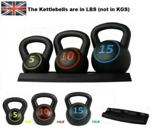Kettlebell Set Kettlebells Weight Weights Sets Exercise Home Gym+Rack Stand 3PCS