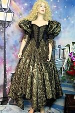 CAROL LEE Couture DRESS Gallery of Wearable Art GOLD METALLIC brocade LACE