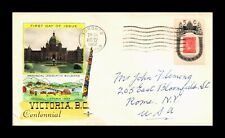 DR JIM STAMPS VICTORIA BRITISH COLUMBIA CENTENNIAL FDC HAND COLORED COVER