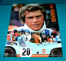 "1971 Unused Original : STEVE McQUEEN ""Le Mans"" FILM POSTER @ Racing Car GULF OIL"