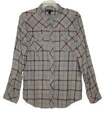 NEW Sz XL Men Western Shirt HELIX Roll-Up Sleeves/Tab Gray Plaid Cotton Flannel