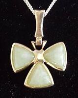 Sterling silver & green jade vintage Art Deco antique shamrock pendant