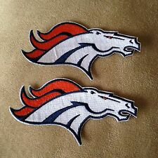 """Lot of 2 -  DENVER BRONCOS 4.5"""" Team Logo NFL Iron-on Football Jersey PATCHES!"""