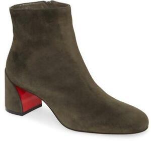 Christian Louboutin TURELA 55 Suede Block Heel Ankle Bootie Boots Bosco $945
