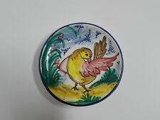 MANISES Plato de porcelana PINTADO A MANO Pajaro 15cm Ø