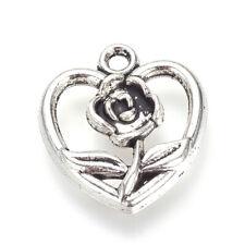 20pcs Tibetan Alloy Heart Charms Hollow w/ Rose Flower Silver Nickel Free 17.5mm