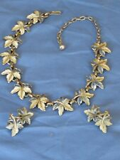 Vintage Maple Leaf Enamel,necklace, earring set silver tone unmarked