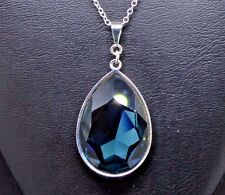 Pear-Cut Teardrop Crystal Pendant made with Swarovski in Montana Sapphire Blue