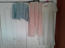 3 Piece Vintage Ladies Nightgown Jammy Pants Dressing Robe Lot