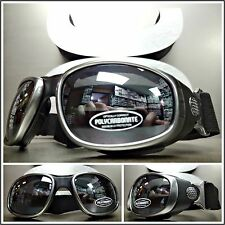 Men PADDED Biker MOTORCYCLE RIDING GLASSES GOGGLES With Strap Gray & Black Frame