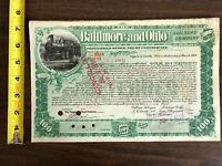 1899 Baltimore Ohio Railroad Co 100 Shares Stock Cancelled Stamp Train Vignette