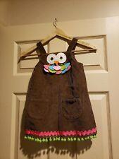 Mud Pie Girls Owl Jumper Romper Brown Corduroy Coverall Dress Size 4T