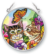 "Tabby CATS Sun Catcher Butterfly Hand Painted Glass 3 1/2"" Diameter AMIA Flowers"