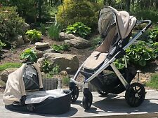 UPPABABY VISTA STROLLER TAN, w/ BASSINET, RAIN COVER, SCOOTER, CUP HOLDER