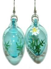 BEAUTIFUL BLUE GLASS EASTER EGG WITH WHITE FLOWERS DANGLE EARRINGS (H219)