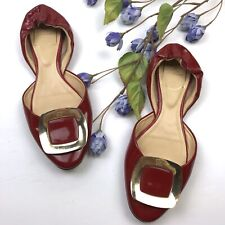 Roger Vivier Sz 7/37 Red Patent Leather Ballerina Chips D'Orsay Flats Slip Ons