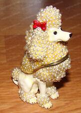 Bejeweled Enamel White POODLE Trinket Box (by Kubla Crafts, 3487W)