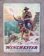 Winchester Guns Hunting Rifle Gun NRA John Cymer Vintage Poster Ad Metal Sign