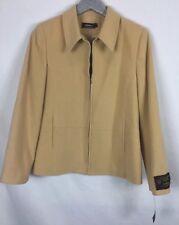 Tribal Corn Silk Color Wool Zip Front Coat Sz 8 NWT