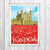 TOWER OF LONDON POPPIES A4 POSTER VINTAGE STYLE