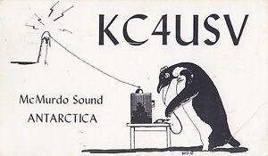 Stamp 10c USA on ham radio card KC4USV McMurdo Sound Antarctic sent Australia