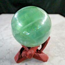 "Fluorite sphere green clear rainbows ball mineral gemstone 1.8"" 46mm 5.6oz 163g"