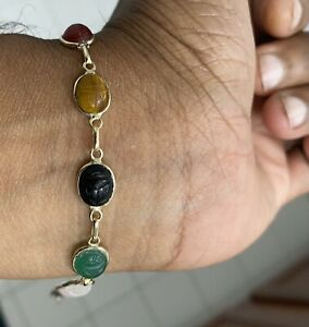 "Estate 14k Yellow Gold Women's Multi Colored Scarab Tennis Bracelet 7"""