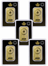 Royal Canadian Mint RCM 1 Troy Oz .9999 Gold Bars (Lot-5) Sealed-Assay SKU29437