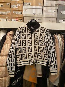 Fendi Black & White Mink Fur Bomber Jacket Size 40
