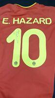 Eden Hazard Hand Signed Belgium Home Shirt Chelsea Real Madrid