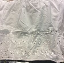 White Eyelet Queen Bed Skirt Timeless Chic Embroidered Machine Washable NEW