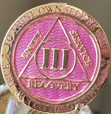3 Year AA Medallion Lavender Pink Gold Alcoholics Anonymous Sobriety Chip Coin