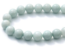 40pcs 10mm Round Gemstone Beads - Malaysian Jade - Opaque Pale Steel
