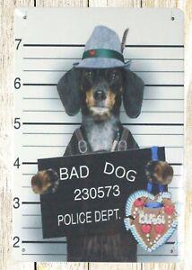 Bad Dog 230573 police dept tin metal sign metal garage signs