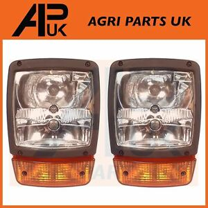 PAIR of Headlights Head Light lamps Indicator for JCB Telehandler Loader Loadall