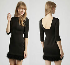 ex Topshop Little Black Dress with Feather Hem - Party Occasion Dress