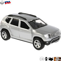 Diecast Car Scale 1:36 Renault Duster Silver Compact SUV Russian Model Toy Cars