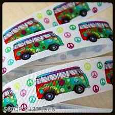 "KOMBI Peace. RIBBON. 7/8"" Grosgrain. WHITE, Scrapbooking/Bows.  HIPPY, Combi Van"