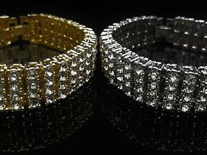 Men's New 4 Row Hip Hop Fully icy White On White/Yellow On Yellow Bling Bracelet