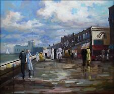 Quality Hand Painted Oil Painting Wharf with Passengers 20x24in