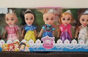 New Girls 5Pcs Frozen Princess Dolls Cinderella snow white Toys Party Gift