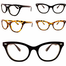 Para Mujer Gafas De Lente Claro Ojo De Gato Gafas Vintage Década de 1980 marco negro tortuga