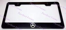 """MERCEDES"" Logo LASER Style Black Stainless Steel License Plate Frame W/ Caps"