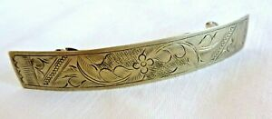 Artisan Large Silver Finish Nickel Hair Barrette Etched Floral Design