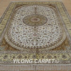 YILONG 6'x9' Handknotted Silk Carpets Family Room Indoor White Area Rugs 1231