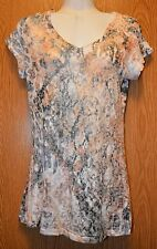 Womens Pretty Semi Sheer Panhandle Slim Cap Sleeve Shirt Size Small excellent