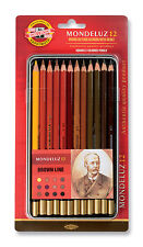 Pack of 12 Koh-I-Noor Mondeluz Hexagonal Water Coloured Pencils Brown Line